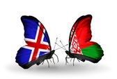 Butterflies with India and Belarus flags on wings — Stock Photo