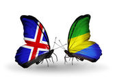 Butterflies with India and  Gabon flags on wings — Stock Photo