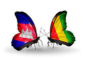Butterflies with Cambodia and  Guinea flags on wings — Stock Photo