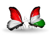 Butterflies with Monaco, Indonesia and Hungary flags on wings — Stock Photo