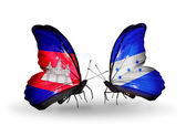 Butterflies with Cambodia and  Honduras flags on wings — Stock Photo