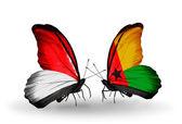 モナコ、インドネシア、ニューギニアの蝶翼のギニアビサウ フラグします。 — ストック写真