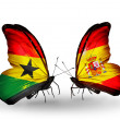 Постер, плакат: Butterflies with Ghana and Spain flags on wings