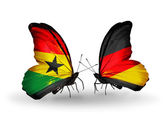Butterflies with Ghana and Germany flags on wings — Foto de Stock