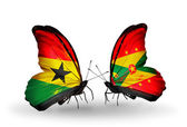 Butterflies with Ghana and Grenada flags on wings — Stock Photo