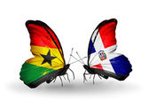 Butterflies with Ghana and Dominicana flags on wings — Stock fotografie