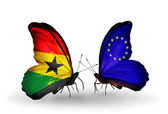 Butterflies with Ghana and  European Union flags on wings — Stock fotografie