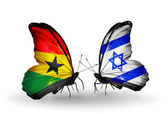 Butterflies with Ghana and  Israel flags on wings — Stock fotografie