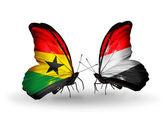 Motýli s příznaky ghana a jemen na křídlech — Stock fotografie