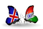 Butterflies with Iceland and   India flags on wings — Stock Photo