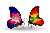 Butterflies with Cambodia and  Grenada flags on wings — Stock Photo