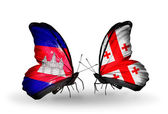 Butterflies with Cambodia and  Georgia flags on wings — Stock Photo