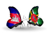 Butterflies with Cambodia and   Dominica flags on wings — Stock fotografie