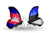 Motýli s příznaky kambodži a estonska na křídlech — Stock fotografie