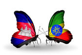 Mariposas con banderas de camboya y etiopía en alas — Foto de Stock