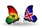 Butterflies with Ghana and Iceland flags on wings — Stock Photo
