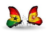 Motýli s příznaky ghana a španělsko na křídlech — Stock fotografie