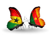Butterflies with Ghana and Cameroon flags on wings — Stock Photo