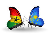 Butterflies with Ghana and Kazakhstan flags on wings — Stock Photo