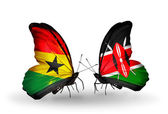 Butterflies with Ghana and Kenya flags on wings — Stock Photo