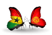 Butterflies with Ghana and Kirghiz flags on wings — Stock Photo
