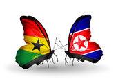 Motýli s příznaky ghana a severní koreje na křídlech — Stock fotografie
