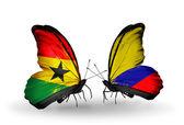 Motýli s příznaky ghana a columbia na křídlech — Stock fotografie