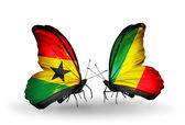 Butterflies with Ghana and Kongo flags on wings — Stock Photo