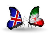 Butterflies with  Iceland and Iran flags on wings — Stock Photo