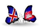 Butterflies with Iceland and Cambodia flags on wings — Stock Photo