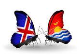 Motýli s příznaky islandu a kiribati na křídlech — Stock fotografie