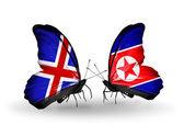 蝴蝶翅膀上的冰岛和朝鲜标志 — 图库照片