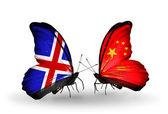 Motýli s příznaky islandu a číny na křídlech — Stock fotografie