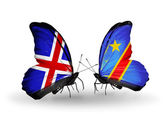 Butterflies with Iceland and Kongo flags on wings — Stock Photo