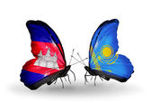 Butterflies with Cambodia and  Kazakhstan flags on wings — Stock Photo