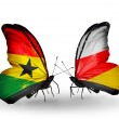 Постер, плакат: Butterflies with Ghana and South Ossetia flags on wings
