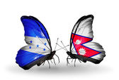 Butterflies with Honduras and  Nepal flags on wings — Stockfoto