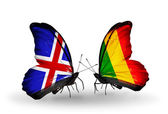 Butterflies with Iceland and Mali flags on wings — Stock Photo
