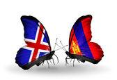 Fjärilar med island och mongoliet flaggor på vingar — Stockfoto
