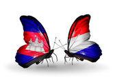 Mariposas con camboya y holanda banderas en las alas — Foto de Stock