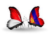 Butterflies with Monaco, Indonesia and Mongolia flags on wings — Stok fotoğraf