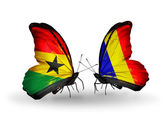 Butterflies with  Ghana and  Chad, Romania flags on wings — Stok fotoğraf