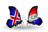 Butterflies with Iceland and Paraguay flags on wings — Stock fotografie