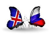Motýli s příznaky islandu a rusko na křídlech — Stock fotografie