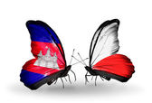 Butterflies with Cambodia and  Poland flags on wings — Stok fotoğraf