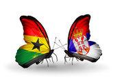 Motýli s příznaky ghana a srbskem na křídlech — Stock fotografie