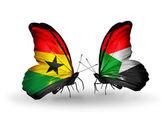 Motýli s příznaky ghana a súdán na křídlech — Stock fotografie