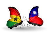 Motýli s příznaky ghana a tchaj-wanu na křídlech — Stock fotografie