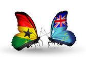 Motýli s příznaky ghana a tuvalu na křídlech — Stock fotografie