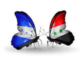 Butterflies with  Honduras and  Syria flags on wings — Stock Photo